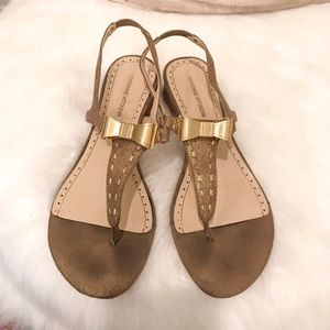Shoes - Adrienne Vittadini Gold Bow Sandals